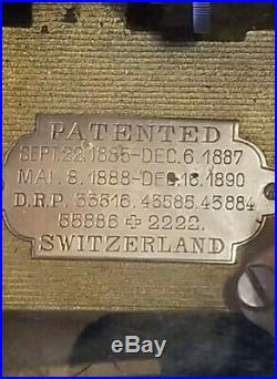 Antique Swiss Cylinder Music Box 1885