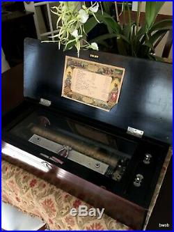 Antique Swiss Cylinder Music Box Piccolo Zither 12 Air Floral Inlay Lid c 1890