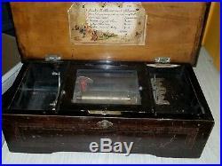 Antique Swiss Music Box 6 Songs circa 1900