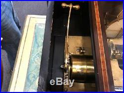 Antique Swiss music box pre 1900 with cylinder case 3 drums total