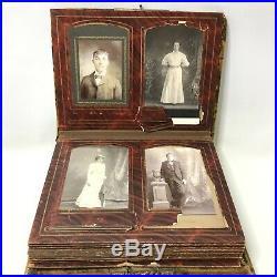 Antique Victorian Portrait Photo Picture Album with Music Box Cabinet