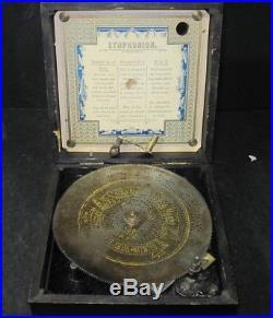 Antique Vintage Symphonium Music Box, With Crank