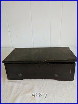 Antique Vtg Music Box Missing Comb Does Run
