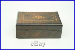 Antique Walnut Veneer Inlaid Music Box Brass Movement 60 Note Working