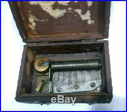 Antique Wood Music Box (Missing Key)