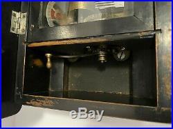 Antique Wooden 8-Tune Cylinder Hand Crank Music Box