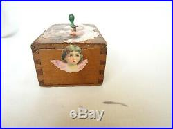 Antique Wooden Cyllinder Music Box 1 Melody 19th century