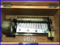 Antique Wooden Pre-1900 Music Box Key Wind Two Songs Beautiful