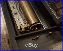 Antique Working Swiss 8 Song Cylinder Mechanical Music Box c. 1890