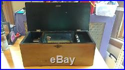 Antique Working Swiss Cylinder Wood Inlaid Music Box 8 Song & Original Song List