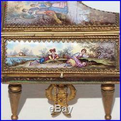 Austrian Vienna Gilded Bronze Enamel Miniature Mechanical Windup Piano Music Box