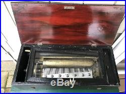 BEAUTIFUL ANTIQUE WOODEN CYLINDER MUSIC BOX 17 1/2x7.5x5 Lou Hoover Estate