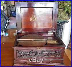 BEST SOUNDING, HUGE & CARVED 17 STELLA DISC MUSIC BOX 24 DISCS IN DRAWER c1890