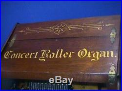 CONCERT Roller Organ+40 Cobs ORIGINAL Gold Letters+Wood PATINA Working Condition