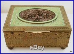 Cont European Brass/Bronze Enameled Music Box