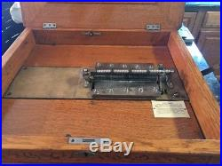 Criterion Double-Comb Music Box Original Detailed Oak Wood with 3 Discs ON SALE
