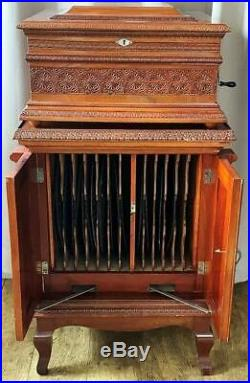 EXQUISITE ANTIQUE SPECIAL ORDER OLYMPIA 15.5 INCH DISC MUSIC BOX on CABINET NR