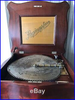 EXQUISITE REGINAPHONE/REGINA MUSIC BOX PHONOGRAPH With DISC CABINET