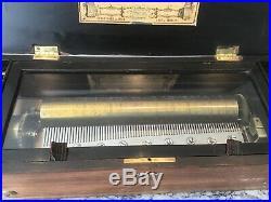 Etouffoirs en Acier Swiss 10 Song Cylinder Music Box 22 X 9 X 6 1800's works