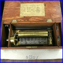 F159 Antique Original Swiss Musical Box 6 Airs Great Working Condition 1820s
