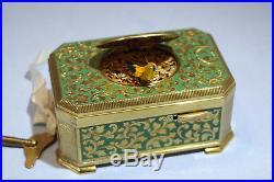 Karl Greisbaum Gilt Brass Enamel Mechanical Singing Bird Box Emil Brenk Case