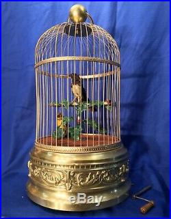 Large 2 Birds Antique France singing automaton Birds Cage music Box, tall 21 Inch