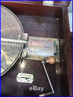 Large Stella Mahogany Music Box Disc Base 72 Discs As Found