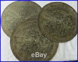 Lot of 3 15 Imperial Symphonion Symphonium Antique Music Box Discs Musical Disc