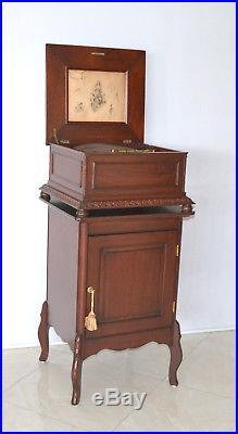 Mahogany Regina Disk Music Box With Base Stand & Christmas Disks