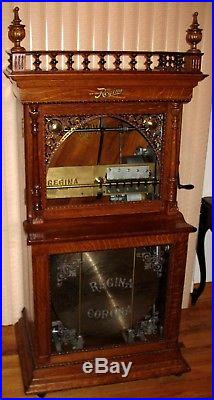 Oak Regina 20 3 4 Changer Upright Disc Music Box Slot Machine Coin Op