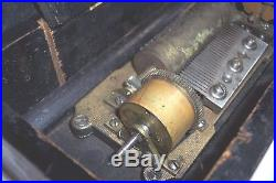 Old Small Size Music Cylinder Music Box For Parts Or Restoration