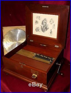 Penny Operated Regina Mahogany Music Box with Ten 15 1/2 Discs