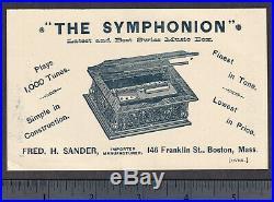 Polyphone & Symphonion Music Box Victorian Advertising Trade Card Sander Boston