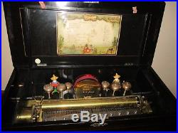 RARE ANTIQUE SWISS MECHANICAL FIGURAL MUSIC BOX WithH CHINESE MEN / BIRDS