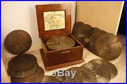 Rare Antique Big Kalliope Music Box With 15 Discs