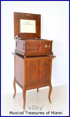 Rare Coin-op Oak Regina Disk Music Box With Bells
