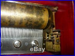 Rare Heavy Vintage Antique Music Box For Restoration Or Repair, Side Crank