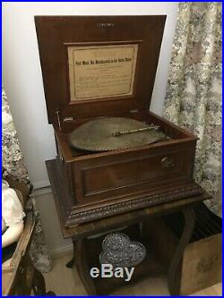 Regina 15 1/2 Disc Music Box With Double Comb And 43 Discs