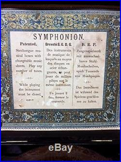 SYMPHONION Brevete Patent Antique Music Box in Great Condition