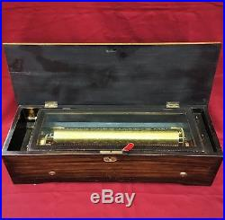 Swiss Cylinder Inlay Music Box 10 Airs/Tunes/Songs