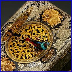 Swiss Wonderful Gold Silver & Enamel Automaton Bird Box with Fusee