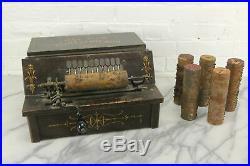 The Gem Roller Organ Antique 1895 Crank Organ with Six Cobs Song Rolls