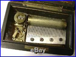 VERY RARE -Small 3 Air Cylinder Music Box Swiss Antique with 63 notes, ex