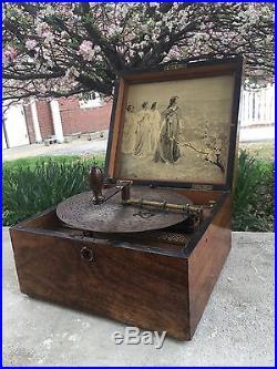 Victorian, Burl Wood Kalliope / Calliope Music Box with (7) 9 1/4 Discs c. 1880